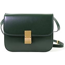 Macton - Bolso cruzados de Piel para mujer Verde verde