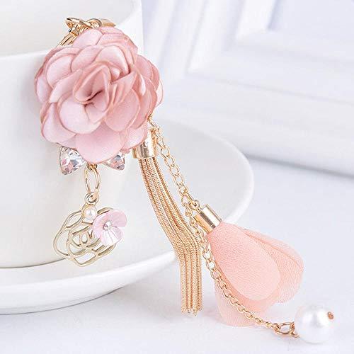 Yamybox Glamour Pink Rose Blume Schlüsselbund Golden