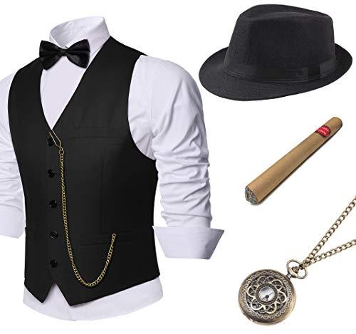 Kostüm Herren Hüte - Coucoland 1920s Accessoires Herren Mafia Gatsby Kostüm Set inklusive Panama Gangster Hut Herren Weste Halsschleife Fliege Taschenuhr und Plastik Zigarre (Schwarz, L)