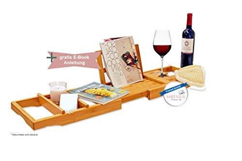 Bambus Badewannenablage - Badewannenauflage - Badewannenregal. Aus Bambus Holz, stabil und ausziehbar. Für Tablet, Laptop + Buchstütze, Halterung für Glas und Handy. Hochwertig und vielseitig.
