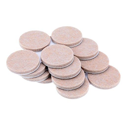Bulk Hardware BH01123 Self Adhesive Round Floor Furniture Protection Heavy Duty Felt Pads 25 mm (1 inch) x 4 mm Thick - Pack of 25