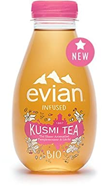 evian® Infused Kusmi Tea - Thé Blanc, Pamplemousse, Litchi - Pack de 12 Bouteilles de 37cl