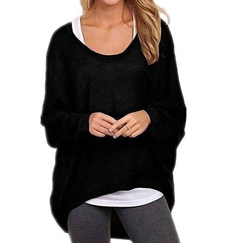 hibote Dernières femmes européennes et américaines Asymmetric à manches longues en tricot T-shirt décontracté en vrac Multicolor Sweater Noir