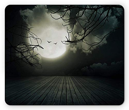 Wooden Planks Floor with Leafless Branches and Blurred Full Moon Mysterious, Standard Size Rectangle Non-Slip Rubber Mousepad, Black Grey White ()