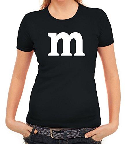 Karneval Fasching Junggesellenabschied Damen T-Shirt Gruppen & Paar Kostüm mit M Aufdruck, Größe: M,schwarz (M&m T Shirt Kostüm)