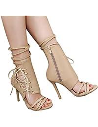 129d5da7508 ZARLLE Sandalias De Correa Romanas De TacóN Alto Roman Correa con Hebilla  Zapatos Mujer Sandalias Sexy Sandalias Tacones Mujer…