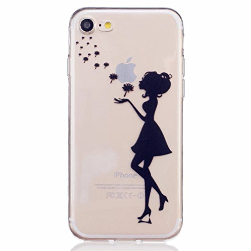 MUTOUREN iPhone 7 case cover Mobile phone protective cover TPU silicone transparent clear thin silicone anti scratch bag case with simple patterns-slim Girl and Floating dandelion high heel