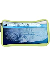 Snoogg Eco Friendly Canvas Blue Sea With White Mountain Designer Student Pen Pencil Case Coin Purse Pouch Cosmetic...