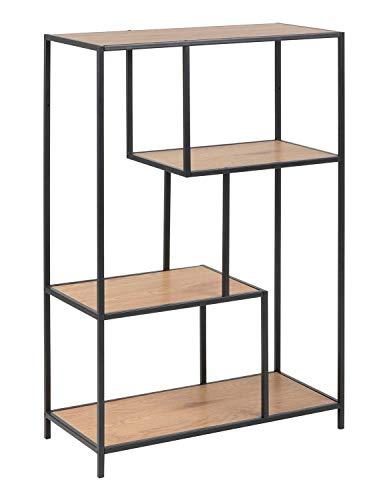 Designregal Standregal Bücherregal SINETT 1 | 4 Fächer | Schwarz | Metall | Holzoptik Wildeiche | BxHxT: 77x114x35 cm