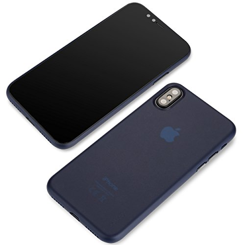 Apple iPhone X (Ten) Hülle 2017 von Liamoo® ultra dünne (slim) Schutzhülle für das 10 Jahre Jubiläum in blau blau