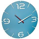 TFA Dostmann Contour Design 60.3047.14-Orologio da Parete in plastica, Colore: Azzurro/Bianco, Diametro 350X (H) 35mm,