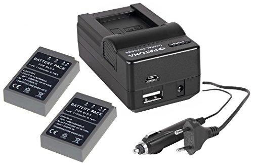 Juego de 4en 1para la cámara Olympus OM-D E-M10Mark II Sistema–-- 2x Premium Batería para Olympus BLS-5/BLS de 50(1100mAh) + 4in1Cargador (entre otros, con USB/Micro-USB y coche/Auto) Incluye PATONA displaypad