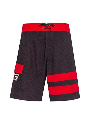 Marc Marquez 201893Herren Schwarz/Rot gestreift Board Shorts Made in 100% Polyester, Schwarz, Mens (XL) 92cm/36 inch Waist - Schwarz Gestreiften Shorts