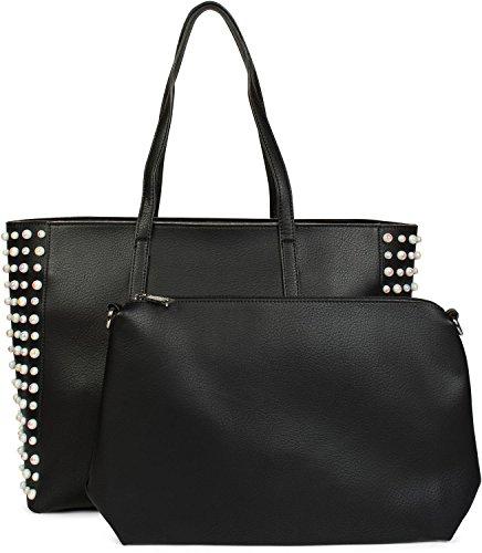 styleBREAKER XXL Shopper Taschen Set mit Perlen Verzierung, Handtasche, Bag in Bag, Schultertasche, Damen 02012230, Farbe:Schwarz (Perlen Handtasche Tasche)