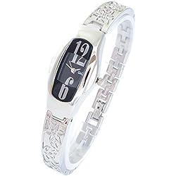 Elegante Damenuhr Schwarz Silber Analog Metall Blume Armbanduhr Quarz Uhr