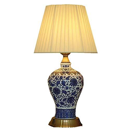 Zhang Ying ZY Chino de Porcelana de Porcelana Dormitorio Mesita de Noche Luz de Bronce Clásico Estudio de la habitación Lámpara de Mesa Lámpara de Escritorio de Tela Romántica