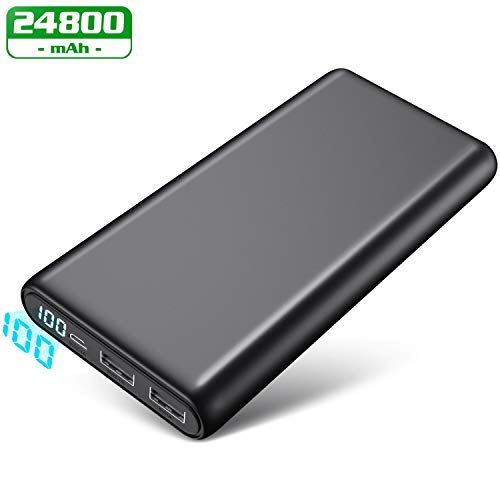 Feob Powerbank 24800 mAh Externer Akku Digital Display Hohe Kapazitat Power Bank 2 Port Output Kompakt Power Pack Tragbares Ladegerät, Kompatibel für Smartphones, Tablett