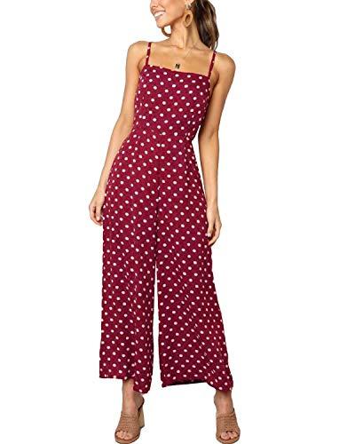 VONDA Damen Jumpsuit Sommer Polka Dot Ärmellos Rückenfrei Overalls Sling Weites Bein Latzhose C-Rot XL/EU46 Rot Polka Dot Polyester