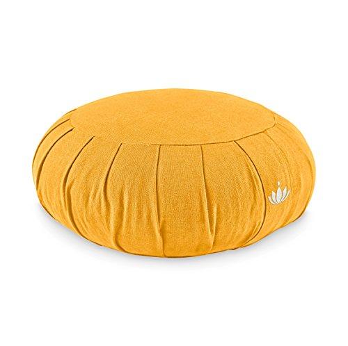 (Lotuscrafts Zafu Meditationskissen Yogakissen Zen - Sitzhöhe 15cm - Yoga Zafukissen mit Dinkelfüllung - Waschbarer Bezug aus Bio-Baumwolle - GOTS Zertifiziert - Mit Bestickung)