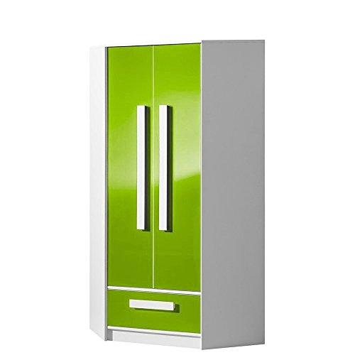 #Eckschrank Eckkleiderschrank GULIVER Kinderzimmer Jugendzimmer Schrank (weiß / grün hochglanz)#