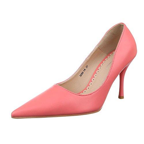 Ital-Design Damen Schuhe, 3088-1A, Pumps, High Heels Stiletto, Synthetik in Hochwertiger Lederoptik, Coral, Gr 40