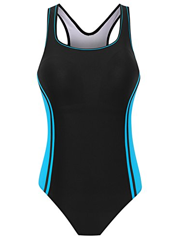 Attraco Damen Figurumspielender Badeanzug Streifen Einteiler Sport Bademode- Gr. 36 (S), Schwarz-Blau