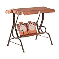 HOMCOM 2 Seater Garden Canopy Swing Chair Cartoon Monkey Rocking Seat for Outdoor Garden Kids Children Play