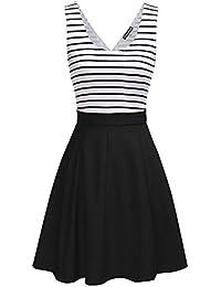 iShine A-Linien Kleider Damen knielang Kleider Skaterkleid Minikleid Ärmellose Kleider Kurz Partykleider mit Streifen
