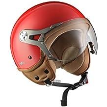 SOXON SP-325-MONO Red · Cruiser Biker Vintage Urbano Chopper Casco Demi-Jet Bobber Mofa Moto motocicleta Vespa Urban Retro Piloto Helmet Scooter · ECE certificado · visera incluido · incluyendo bolsa de casco · Rojo · L (59-60cm)