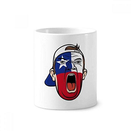 Chile Flagge Gesicht Make-up Maske Screaming Gap Keramik Zahnbürste Stifthalter Becher weiß Tasse 350ml Geschenk