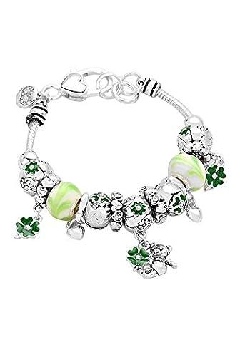 Ours irlandais Shamrock Perles Bracelet à breloques Vert Argenté