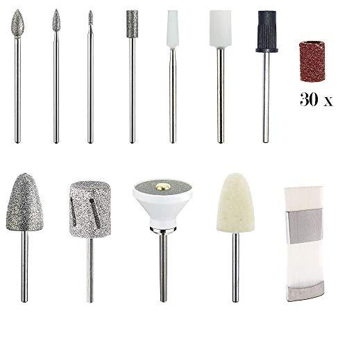 Promed Ultra Pro S elektrisches Maniküre/Pediküre-Set mit 11 Aufsätzen, 30 Sandpapier-Kappen inklusive Aufbewahrungstasche, Elektrische Nagelfeile, Nagelfräser, 13.000 U/min