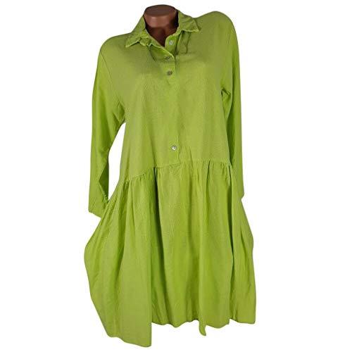 WINLISTING Art- und Weisefrauen beiläufiges drehen unten Kragen langes Hülsen-festes Knopf-Loses Kleid Frauen Casual Revers Langarm einfarbig Knopf lose Kleid