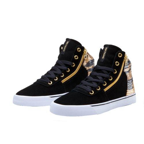 Supra WOMEN-CUTTLER Damen Hohe Sneakers Noir (Black/Gold-White Bkg)