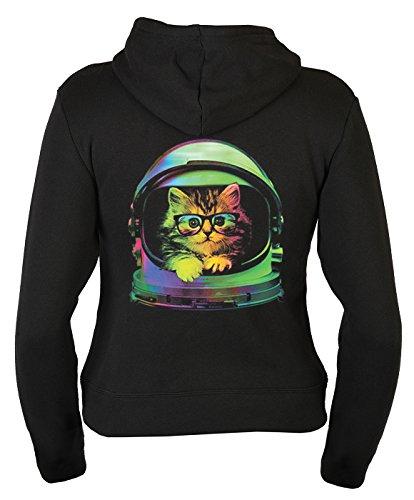 Kapuzenjacke für Damen mit Weltraum Katzen Motiv, Zip Sweater, Zip Jacke, mit Reißverschluß und Rückenaufdruck - Space Kitten Schwarz