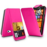 (Hot Pink) Nokia Lumia 625 Schutzfolie Faux Credit / Debit Card Leder Flip Skin Case Hülle Cover, einziehbare Touch Screen Stylus Pen & LCD Screen Protector Guard von Spyrox