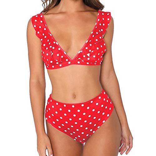 JFan Mujer Traje Baño Bikini Punto Onda Ruffle Conjunto
