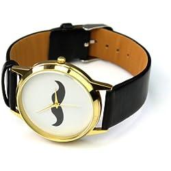 Pinzhi® 2013 PU Leather Belt Quartz Mustache Beard Cuff Wrist Watch Unisex Good Gift