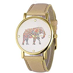 Watch,Alberar New Women Elephant Printing Pattern Weaved Leather Quartz Dial Watch