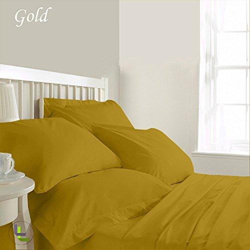 600tc 100% ägyptische Baumwolle elegant Finish 6Wasserbett Bettlaken-Set massiv (Pocket Größe: 45,7cm), baumwolle, Gold Solid, EU_Single (Queen Bed Rock Gold)