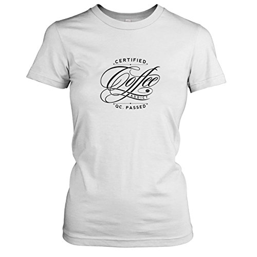 Texlab - Certified Coffee Addict - Damen T-Shirt, Größe XL, weiß