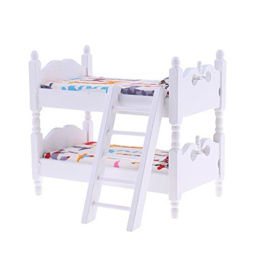 MagiDeal 1/12 Puppenhaus Kinder Schlafzimmer Möbel Miniatur Etagenbett Puppenzubehör - # Giraffe (Puppenhaus Etagenbett)