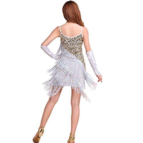 ESHOO Femme Latin Tango Rumba Salsa Robe Costume de danse Robe de cocktail Party Blanc