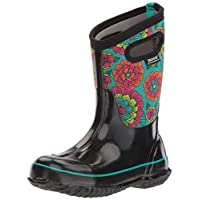 Bogs Kids Classic High Waterproof Insulated Rubber Neoprene Rain Snow Boot, Pansies Print/Black/Multi, 7 M US Toddler