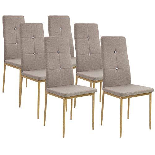 Albatros Esszimmerstühle Crystal 6-er Set Cappucino/Braun, Stoffbezug, Bequem & Ergonomisch geformte Lehne, Küchenstühle