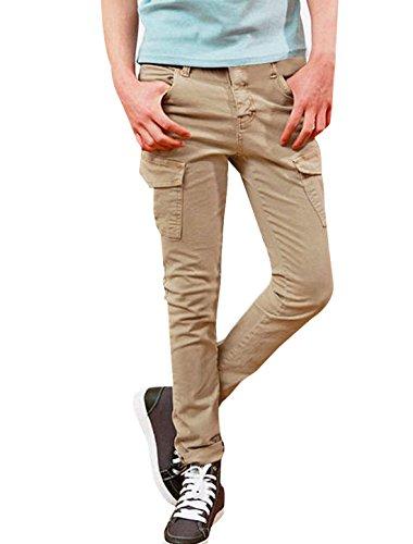Hommes Droit Boutonné Slim Fit Patch Poches Pantalon Kaki W31 Kaki