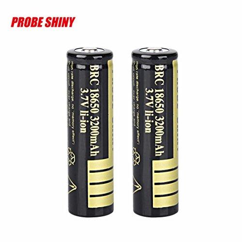 Malloom 2pcs 3200mAh 18650 3.7v batería recargable Li-ion BRC para LED linterna antorcha