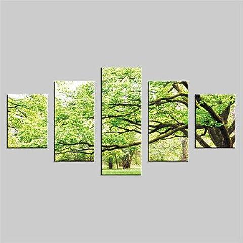 CHINT lienzo genérico conjunto moderno paisaje,cinco paneles Galería envuelto, listo para colgar sin marco impresión vertical grandes árboles NL4032