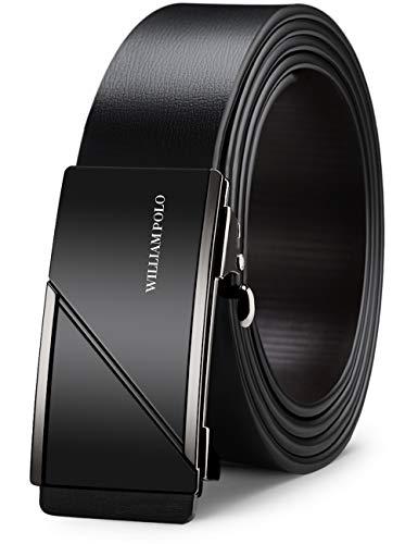 WILLIAMPOLO Cinturón de piel auténtica para hombre, elegante, de lujo, para negocios, casual, con hebilla automática Negro Black (18466p) 125 cm (99.06/106.68 cm)