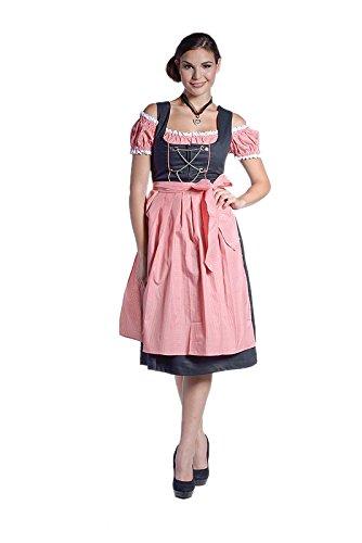 donnerlittchen!!!! MINI oder MIDI Dirndl Leoni schwarz inkl. Bluse und Schürze - rot/weiß, Mini (Knielänge), 36
